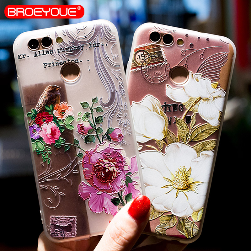 BROEYOUE Case For Huawei P20 P10 P9 P8 Lite 2017 3D Relief Silicone Cases For Huawei P10 Lite Matte Flower Back Cover Cases