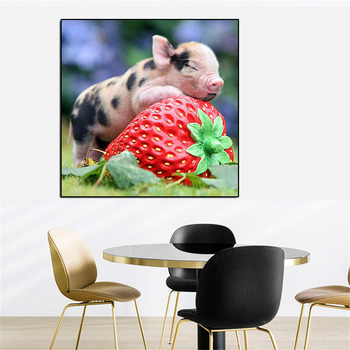 HUACAN New Arrival 5d Diamond Painting Pig Diy Diamond Embroidery Sale Animal Square Full Diamond