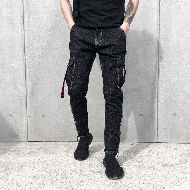 70e9c68e61 Chándal Negro Con Calle Jeans Lápiz Tobillo Tipo Homme Cremallera De Denim  La Vaqueros Rock Hombres ...