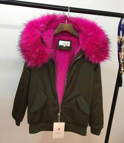 2017 new winter fashion faux rabbit fur liner detachable luxury large fur collar hooded thicken jacket coat women T863 цены онлайн