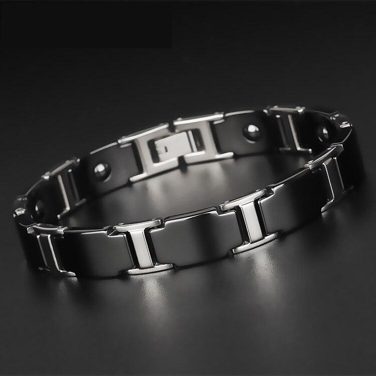 Titanium Steel Bracelet Men's Gold/Silver Plated Bracelet Magnetic Bracelet(ion and FIR) Jewelry Bracelet Bangle For Men