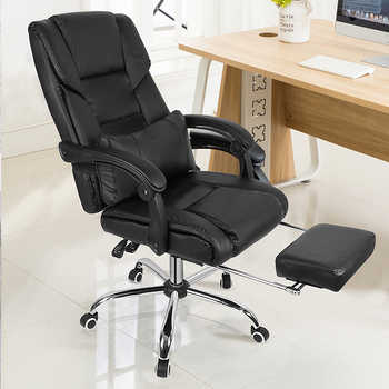 Black Leather Computer Desk Chair Office Chair Recliner Executive Chair Swivel Adjustable Gaming Racing Chair With Footrest HWC - DISCOUNT ITEM  22% OFF All Category