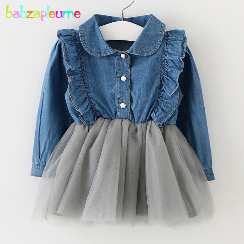 0-3Years/Spring Autumn Kids Clothes Brand Denim Shirt-Dress Baby Girls Lace Tutu Dresses Toddler Clothing Children Dress BC1277