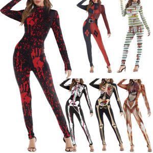 Women Skull Skeleton Pumpkin Clown Jumpsuit Bodysuit Grimace Scary Halloween