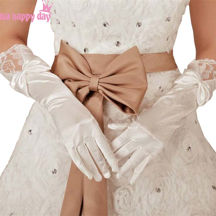 White Red Black Lace Bow Barato Bridal Gloves Opera Length Matched Wedding Dress Bruid Cheap Noiva Gloves Wedding Accessories