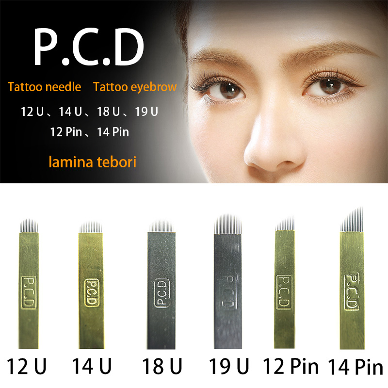 50pcs PCD 12/14/18/19 U Shape Lamina Tebori Permanent Makeup Eyebrow Tattoo Blade Microblading Needles For Embroidery Manual Pen