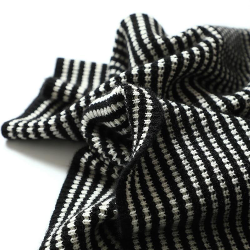 Femmes La Chandails Pur Lâche Black Femme Noir 100 Plus Cavaliers Cachemire Tricoté Femelle Chandail Rayé Pull Avec Taille Manches w7IqWSRtW