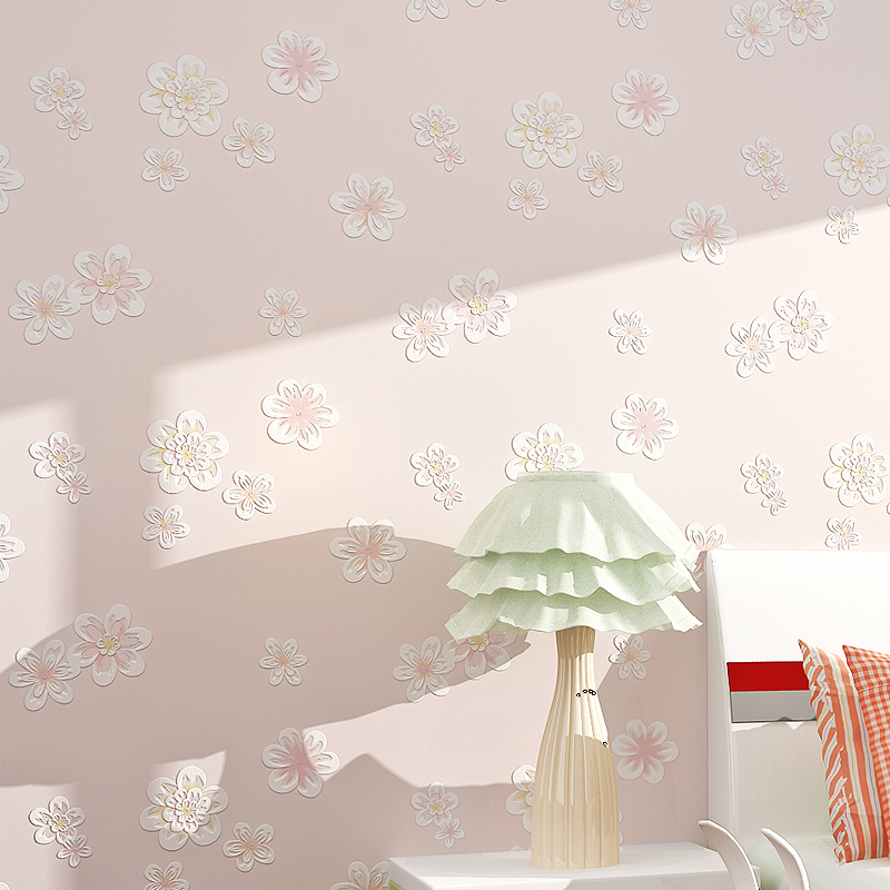Girl Room Pink Wallpaper Flower Nonwoven Wallpaper Children's Bedroom Background Wall Paper Wallpaper Nature Papel De Parede modern stripe wallpaper plain simple nonwoven wallpaper for bedding room pink vertical wallpaper page 5