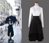 Customize hi low Sexy Slim umbrella Contracted banded waist spring summer irregular swing Long Party Skirts Prom Skirt