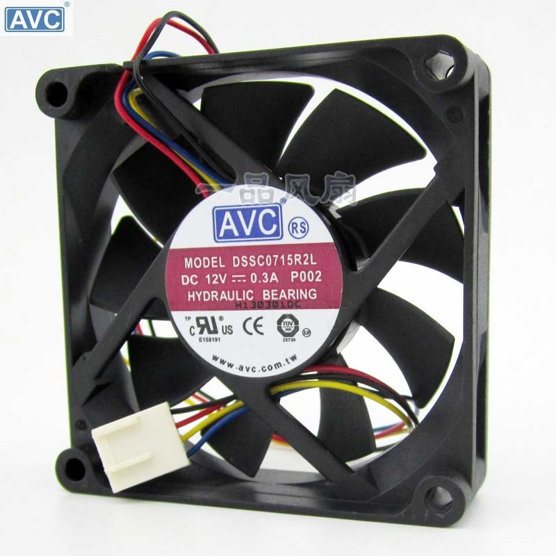 For For AVC DSSC0715R2L, P002 DC 12V 0.3A 4-wire 4-pin Connector 100mm 70x70x15mm Server Square Cooling Fan