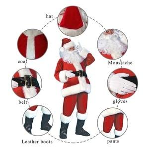 Image 5 - 7pcs Costume di Babbo natale Cappello Di Natale Babbo natale Cosplay Insieme Del Vestito + Hat + Barba + Top + Pantaloni + cintura + Guanti + Stivali di Pelle
