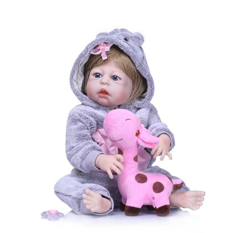 Full Body silicone reborn baby doll kids 57cm Bath Toy Princess Open Eye Realistic Ethnic Doll For girls Birthday Christmas Gift