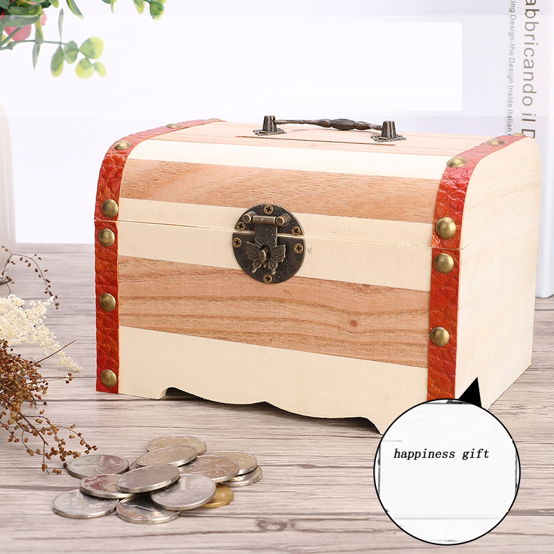 wooden box with lock money storage case piggy bank jewelry. Black Bedroom Furniture Sets. Home Design Ideas
