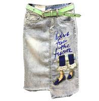 women Fashion sequins irregular 2019 summer new package hip skirt denim skirt mid calf skirt H277