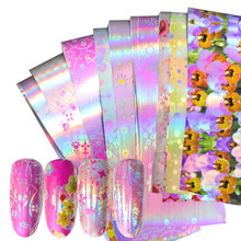 16 pieces holographic nail foil leaf set Mix flower Design transfer polish stickers Nail Art decoration slider decals
