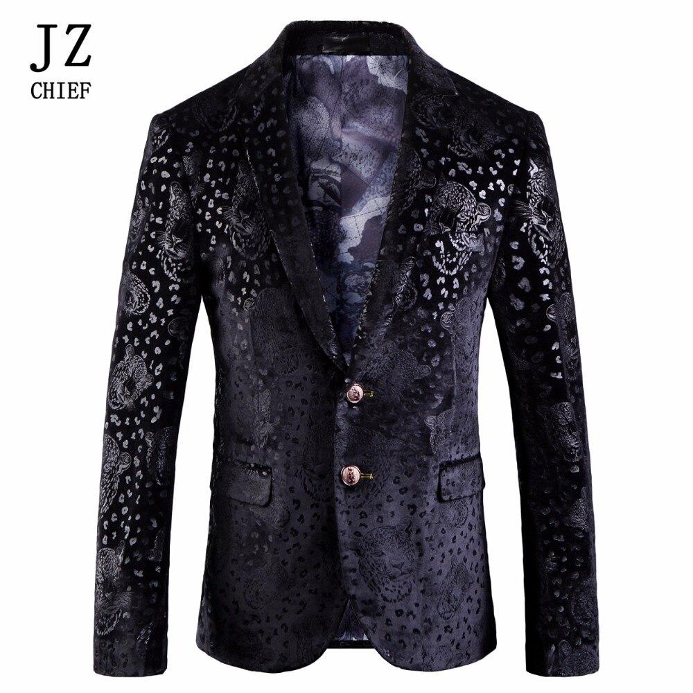 JZ CHEF Hommes Velours Blazer Slim Fit Halloween Imprimer Tigres Noir Veste Unique Poitrine 2 Bouton Costume Veste Blazer Manteau homme