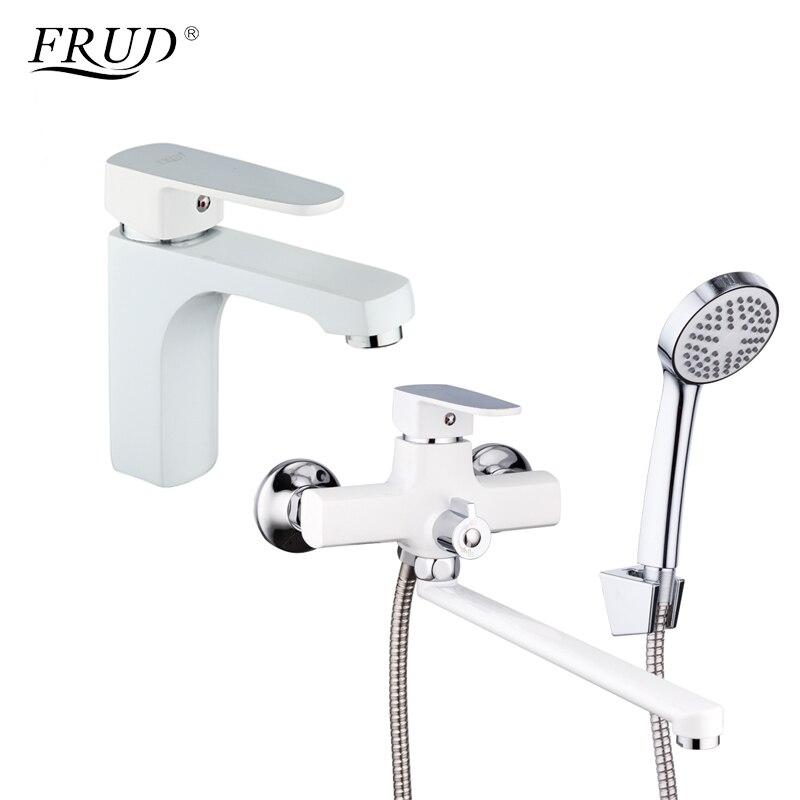 FRUD Classic 1 Set blanc Spary peinture salle de bain baignoire robinet de douche avec robinet mitigeur pomme de douche torneira R10301-2 + R22301