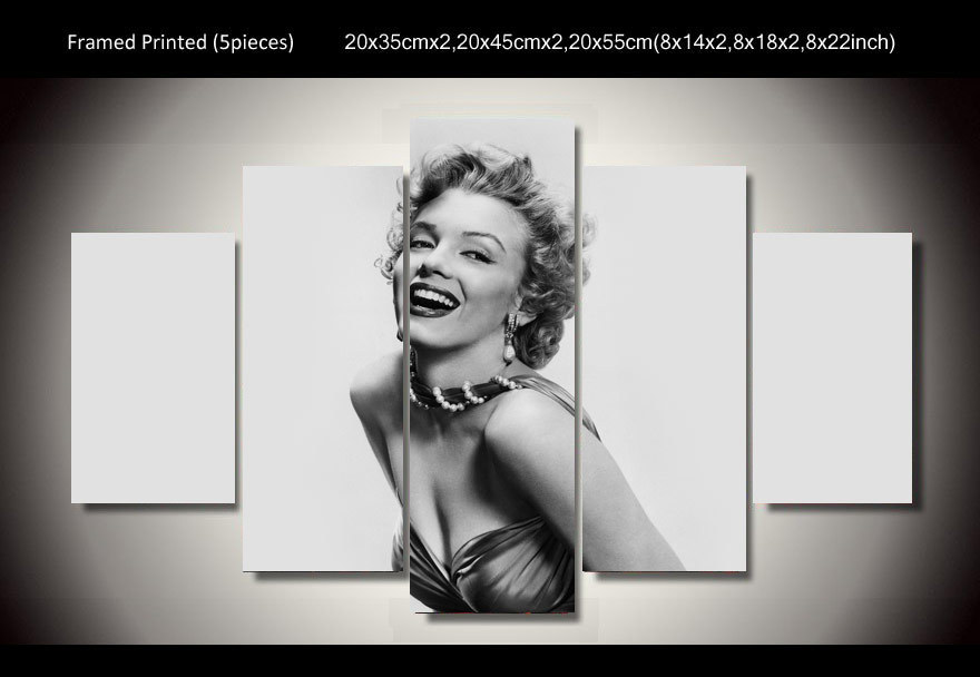 hd printed marilyn monroe 5 piece painting wall art room decor poster canvas free shipping