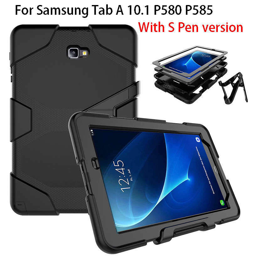 Armor Kickstand Case Funda For Samsung Galaxy Tab A A6 10.1 P580 P585 Case Cover Tablet Shockproof Heavy Duty Stand Hang Shell tire style tough rugged dual layer hybrid hard kickstand duty armor case for samsung galaxy tab a 10 1 2016 t580 tablet cover