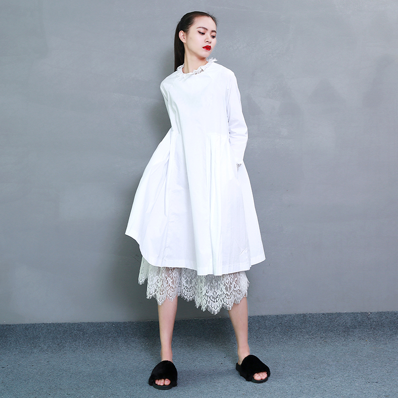 2017 Spring Fashion Trend New Korean Distribution Lace Hem Solid Cotton Long Sleeve Dress Woman tribal print curved hem dress