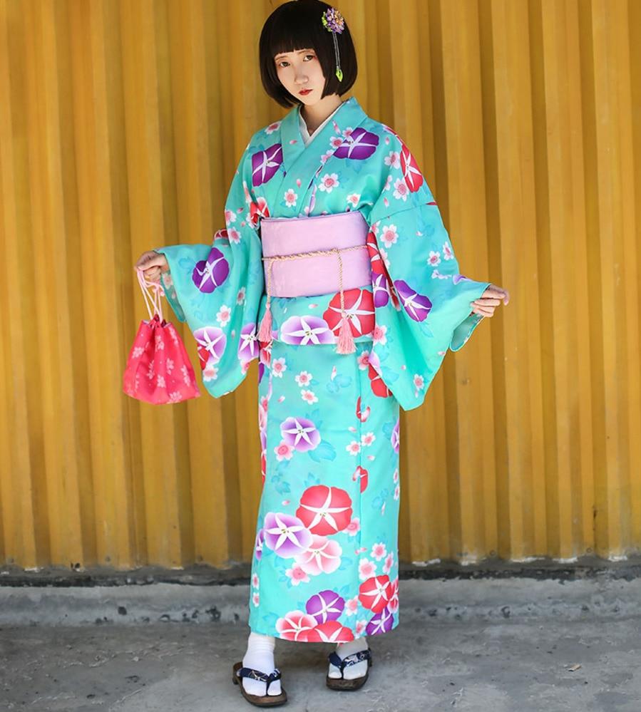 Robe Kimono traditionnelle japonaise pour femme avec Costume Obi femme Cosplay Kimono de soirée femmes peignoir vêtements de nuit floraux A60607