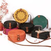 Woven Rattan Round Straw Shoulder Bag Small Handbags SF
