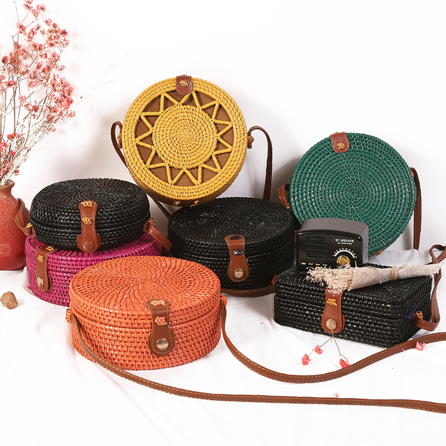 Woven Rattan Bag Round Straw Shoulder Bag Small Beach HandBags Women Summer Hollow Handmade Messenger Crossbody Bags 4
