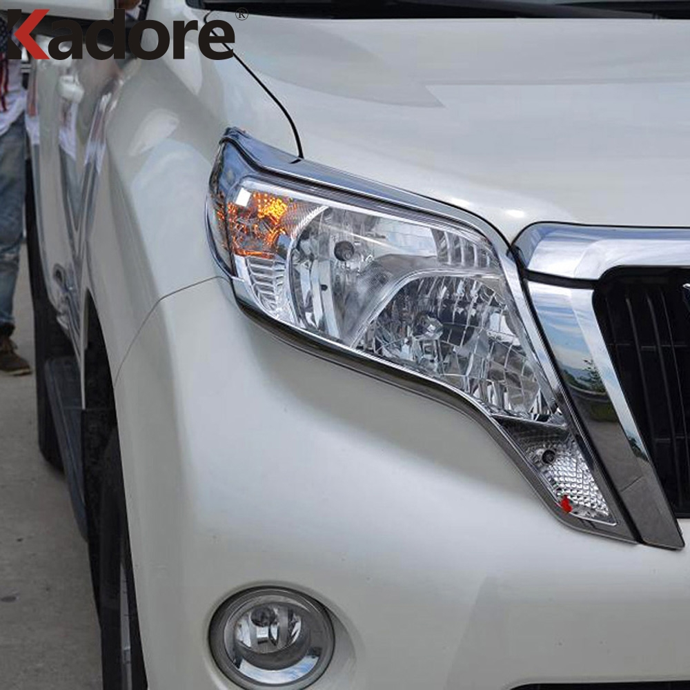 For Toyota Land Cruiser Prado Fj150 2014 2015 Abs Chrome Car Auto Accessories Cover Front Headlight Lamp Trim 2pcs Set In Chromium Styling From