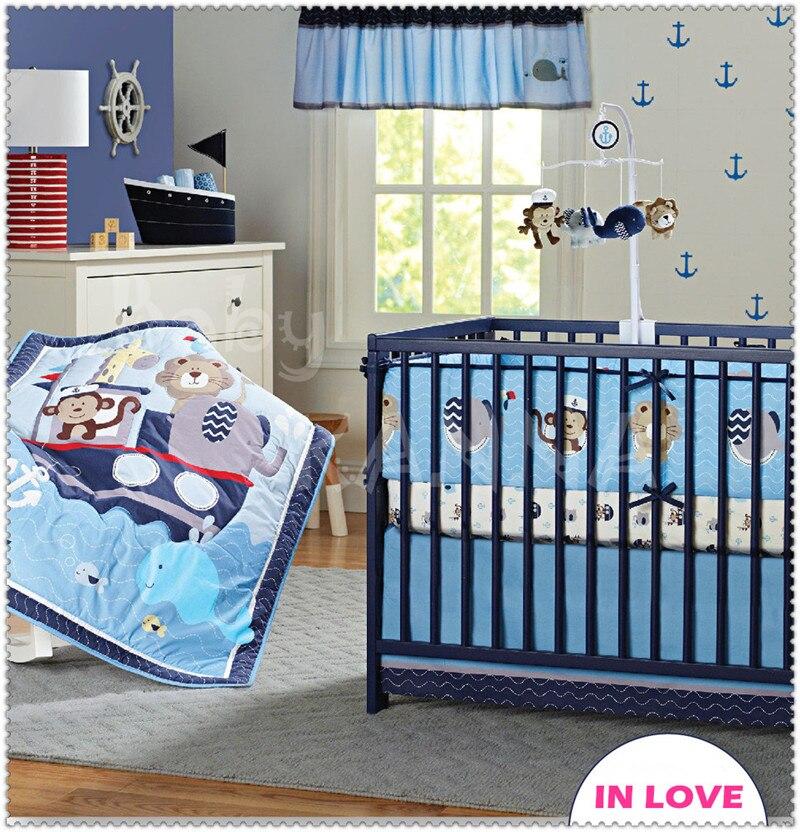 Hot Sales 100% Cotton High Quality Cartoon Embroidery Baby Crib Bedding Set Boys/Girl 7 Pcs Quilt/Bumper/Bedskirt/Mattress Cover  цены