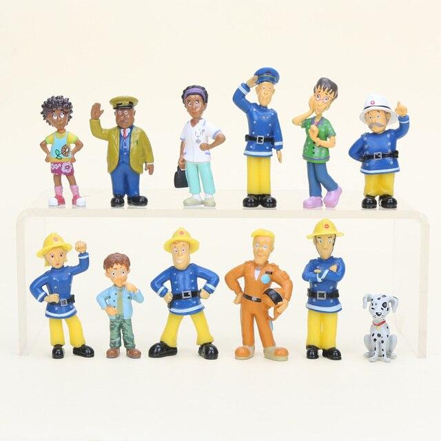 12 stks/partij 2.5-6 cm Brandweerman Sam action figure PVC Cijfers pop speelgoed voor Decoratie of collectie
