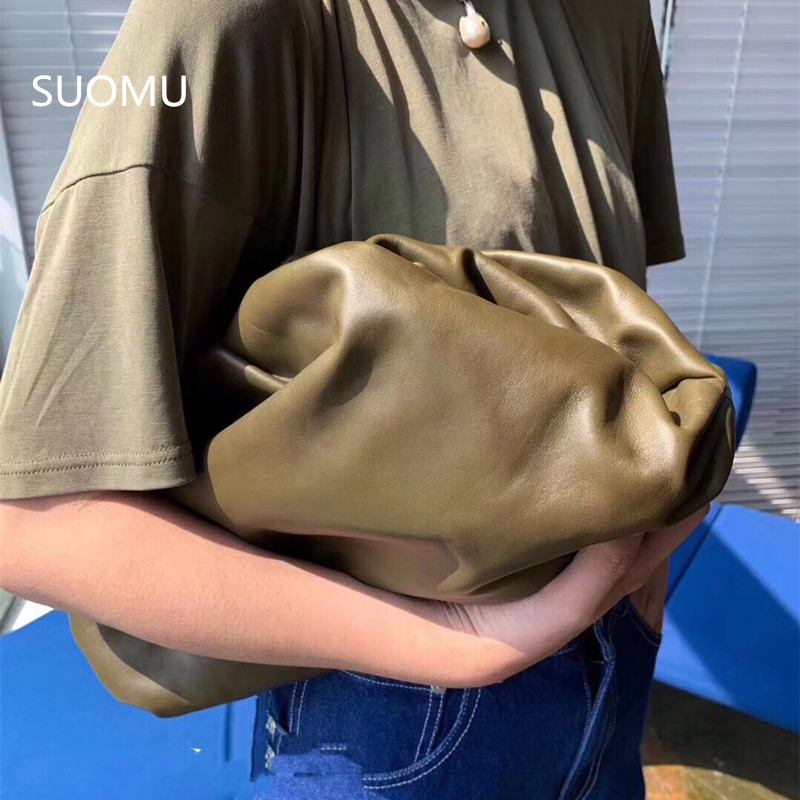 Day Clutch Genuine Leather Evening Party Purse Bag Women Large Big Ruched Pillow Bag Pouch Handbag 2019 Summer Bag White Brown