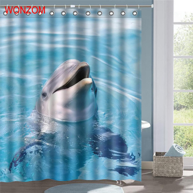 WONZOM Polyester Dolphin Shower Curtains With 12 Hooks For Bathroom Decor Modern 3D Swan Bath Waterproof