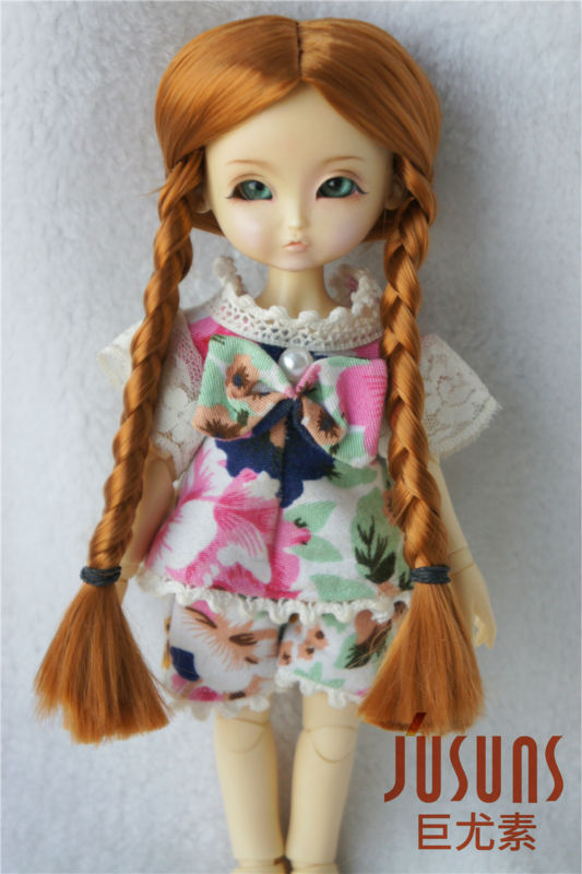 JD103 1/8 BJD wigs  Lati yellow  doll wigs  bid parting Pony  synthetic mohair wig 5-6inch doll accessories