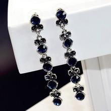 Luxury Fashion Long Crystal Statement Dangle Earring Crystal Zirconia Wedding Jewelry