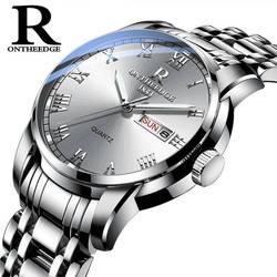 Часы для мужчин для женщин Бизнес водостойкие часы Авто Дата Серебро Сталь для мужчин s часы модные повседневное дамы кварцевые