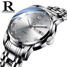 นาฬิกาผู้ชายผู้หญิงธุรกิจนาฬิกากันน้ำ Auto Date Silver Steel Mens นาฬิกาแฟชั่น Casual Ladies นาฬิกาข้อมือควอตซ์ใหม่