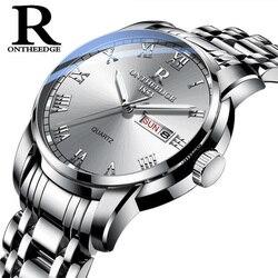 Relógio de negócios à prova dauto água relógio automático data prata aço masculino relógios moda casual senhoras quartzo relógio de pulso novo