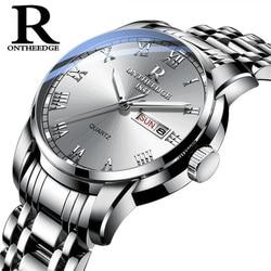 Watch Men Women Business Waterproof Auto Date Silver Steel Mens Watches Fashion Casual Ladies Quartz Wristwatch New