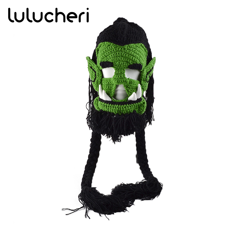 Game Warcraft Thrall Cosplay Mask Crochet Knitting Winter Warm Hat Halloween Costume Accessories For Men Women Christmas Gifts