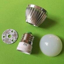 DIY E27 винтовой светодиодный светильник с шариковым пузырьком, 3 Вт, алюминиевый чехол, Крышка корпуса, аксессуары 10 шт