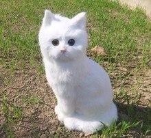 big Simulation cat toy polyethylene&furs white sitting cat model gift about 35x15cm y0206