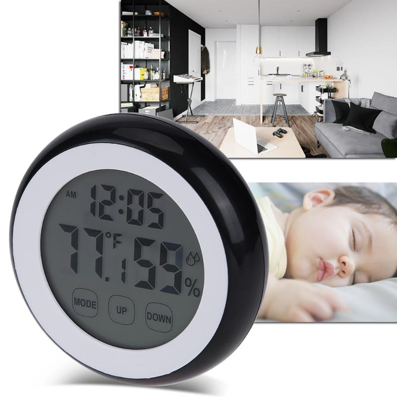 Protable Weather Station Touch Screen Thermometer Hygrometer Indoor Baby Round Digital Temperature Humidity Meter Clock Function Переносные часы