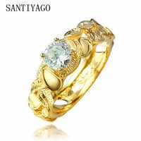 SANTIYAGO 2018 nueva venta caliente India estilo chapado en oro anillo de boda para mujeres amarillo oro Casual circón presente SAN18KRGPR285