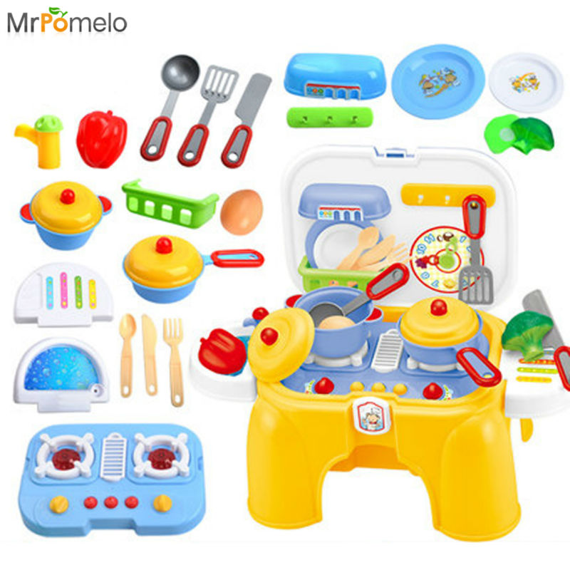 MrPomelo Electric Take Along Kids Kitchen Cooking Set Toy with Lights & Sounds Folds into Stepstool Pretend Play Toys for Girl kawo kids beats flash light toy drum set with adjustable sing along microphone