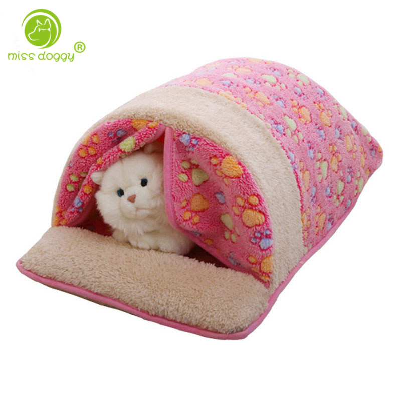 2016 Pet Products Warm Soft Pet Cat Sleeping Bag with Curtain Cartoon Coral Dog Kennel C ...