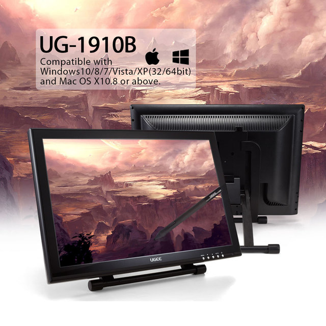 Ugee 1910b 19 Graphics Drawing Tablet Screen Monitor Graphics Pen