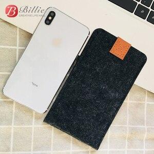Image 3 - Sac de téléphone en laine feutre enveloppe sac à main sac pour iphone XS étuis couverture téléphone Mobile sacs faits à la main pour iphone xs max 6.5 pouces gris