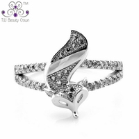 Authentic 925 Sterling Silver Cubic Zirconia Fire Fox Queen Animal Ring For Women Fashion Evening Party Jewelry Birthday Gifts