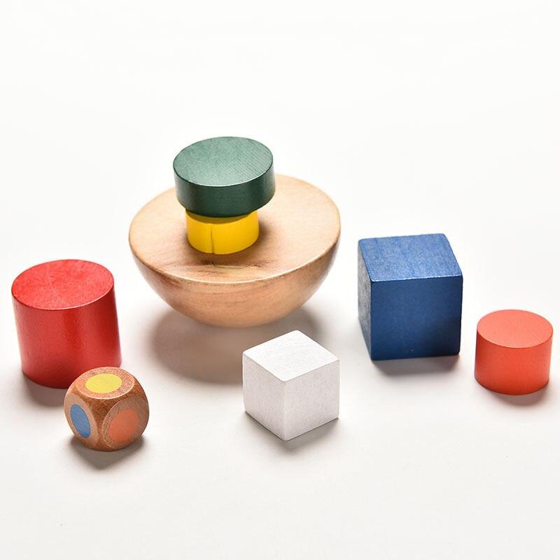 1 Satz Kleine Größe Kind Familie Spiel Geometrische Blöcke Holz Spielzeug Mit Tasche Baby Spielzeug Balancing Spiel Spielzeug Für Kinder
