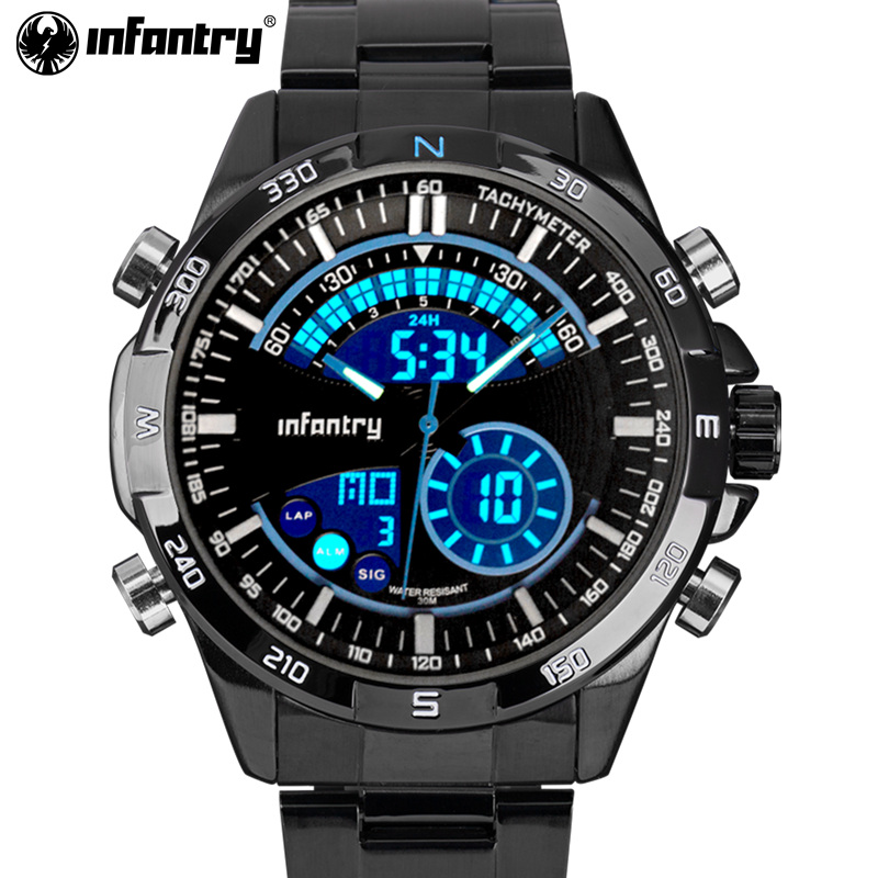 INFANTRY Luxury Brand Men Full Steel Analog Digital Sports Watches Army Military Quartz Watch Luminous Clock Relogio Masculino weide army watches men s steel business luxury brand quartz military sport watch analog digital display wristwatch sale items